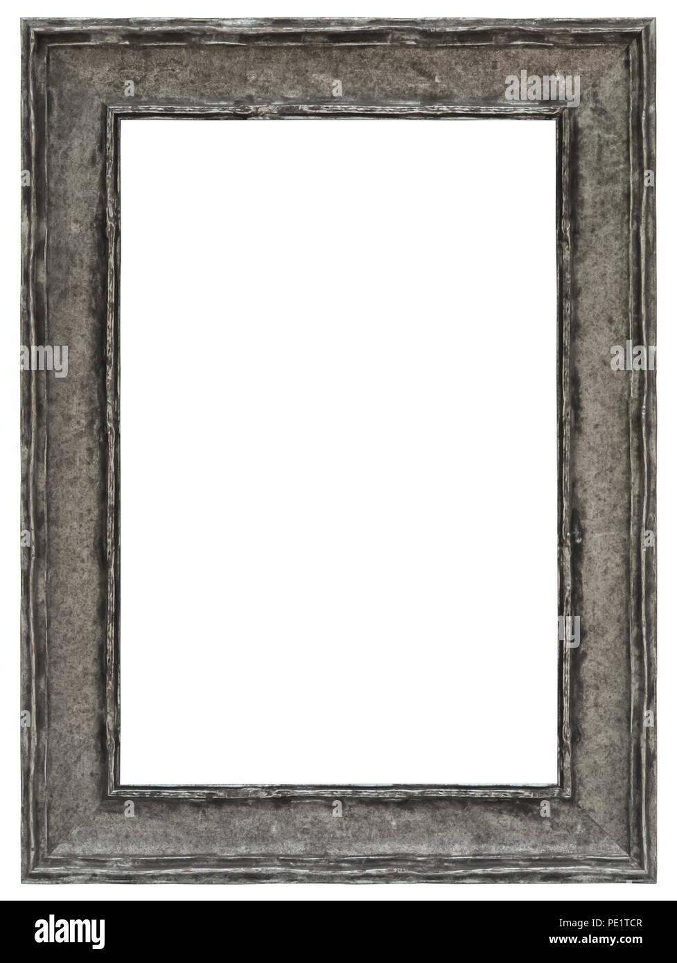 Silberner Bilderrahmen mit tollem Profil für elegante Gutscheine oder als prächtige Umrandung von Bildern Stock Photo