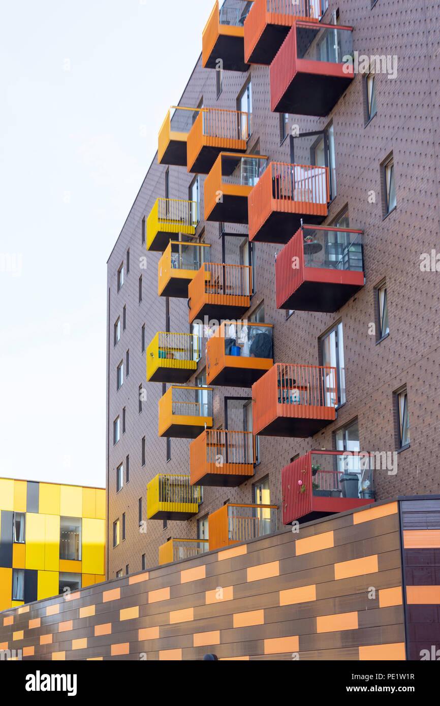 Central housing development apartment blocks, Town Hall Square, Barking, London Borough of Barnet, Greater London, England, United Kingdom - Stock Image