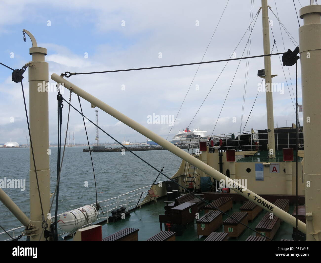 The SS Shieldhall on a lunchtime cruise in Southampton Waters; the largest working steam ship in Britain, preserved from operating on the Clyde. Stock Photo