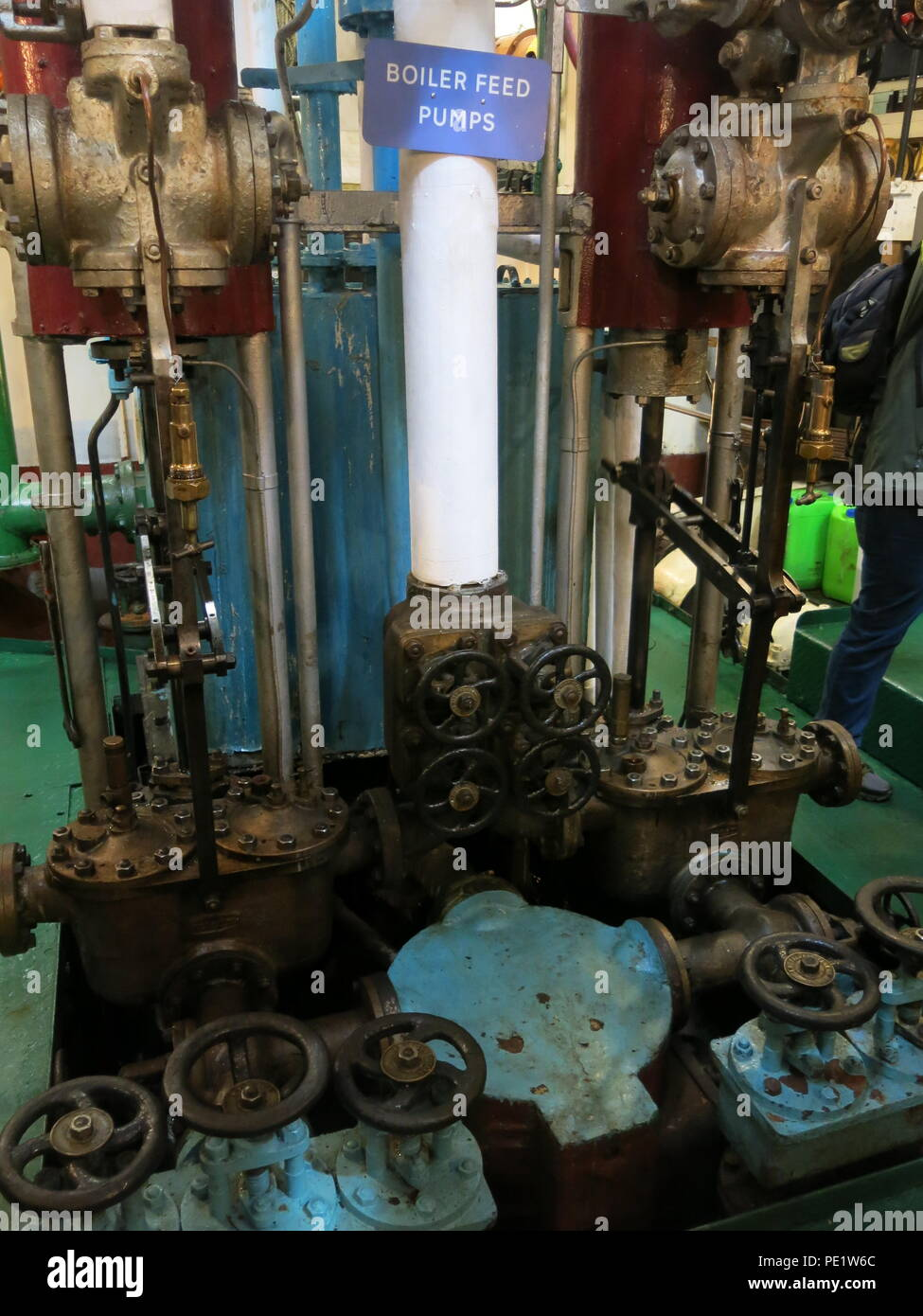 Close-up of the engine room on board the SS Shieldhall on a lunchtime cruise in Southampton Waters; the largest working steam ship in Britain. Stock Photo