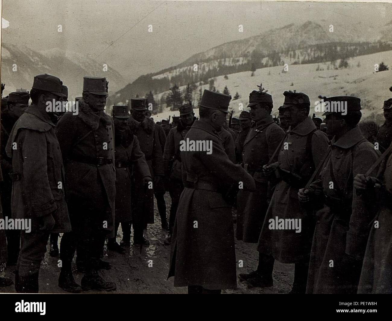 Ansprache an Mannschaften der Brigade Covin. - Stock Image