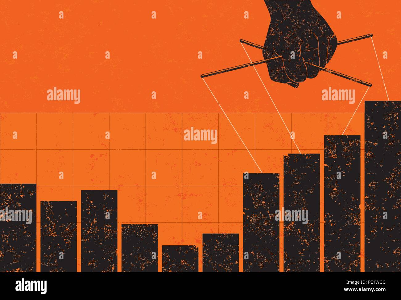 Profit Manipulation. A puppeteer making profits appear higher on a bar graph. - Stock Image
