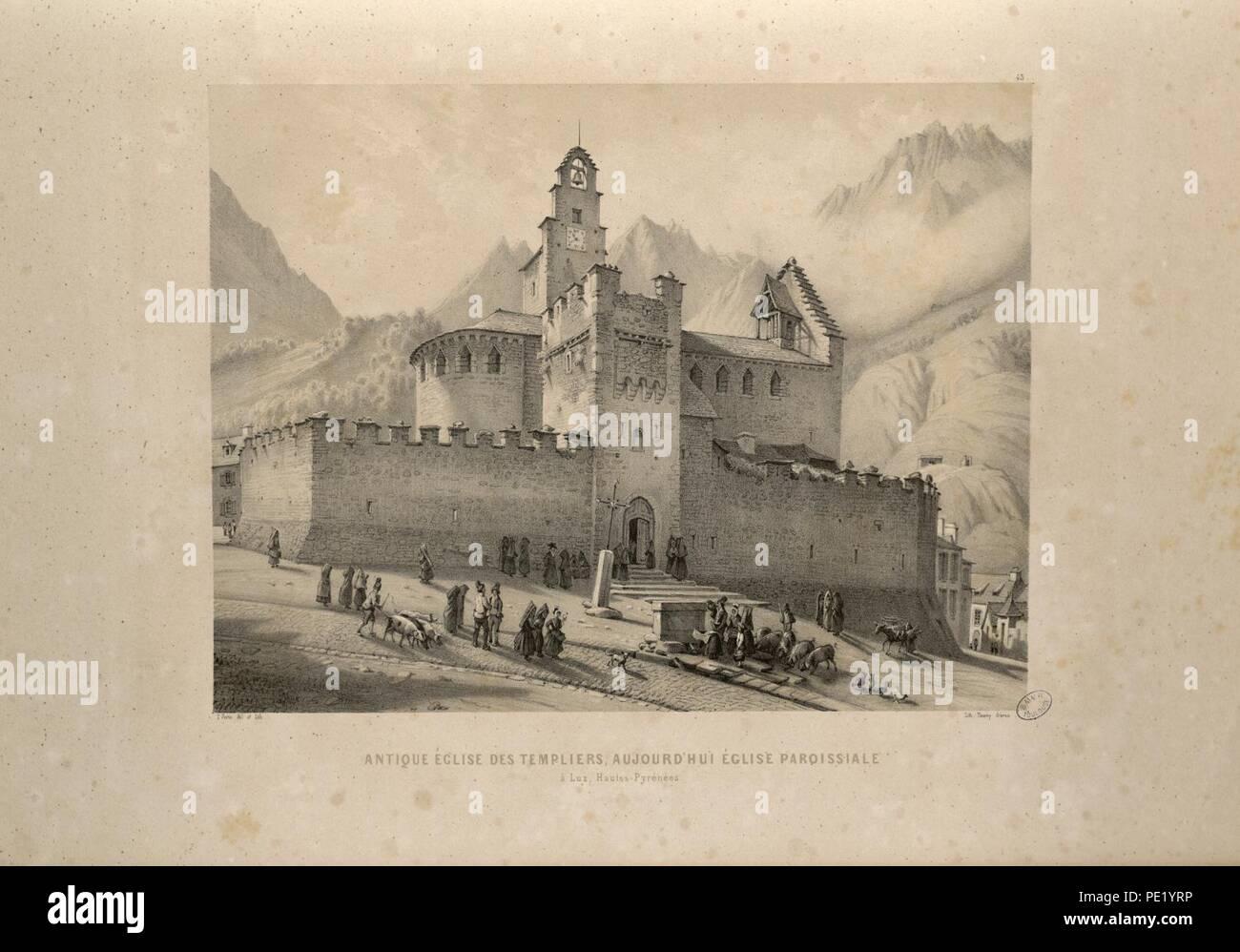 Antique église des Templiers, aujourd'hui église paroissiale à Luz, Hautes-Pyrénées - Fonds Ancely - B315556101 A PARIS 1 041. - Stock Image