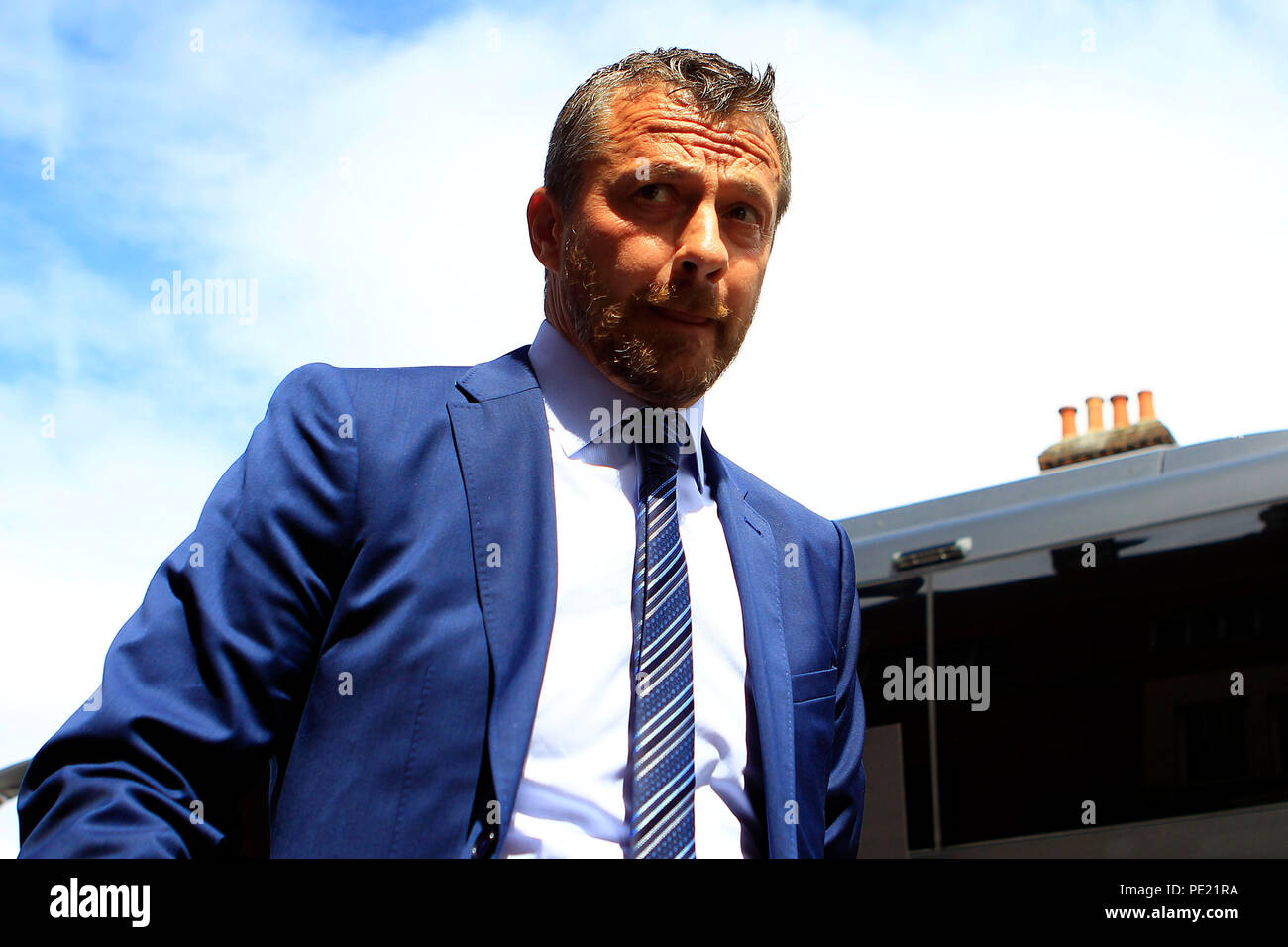 London, UK, 11 Aug 2018. Fulham Manager Slavisa Jokanovic arrives at the ground. Premier League match, Fulham v Crystal Palace at Craven Cottage in London on Saturday 11th August 2018.  this image may only be used for Editorial purposes. Editorial use only, license required for commercial use. No use in betting, games or a single club/league/player publications. pic by Steffan Bowen/Andrew Orchard sports photography/Alamy Live news - Stock Image