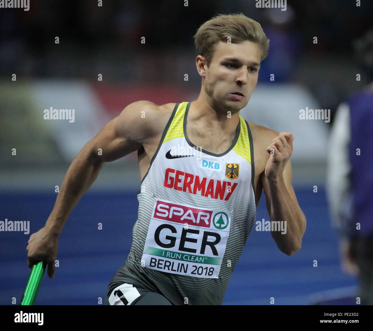 Berlin, Germany. 11th Aug, 2018. European Athletics Championships in the Olympic Stadium: 4x400 m Relay, Men, Final: Fabian Dammer from Germany in action. Credit: Michael Kappeler/dpa/Alamy Live News - Stock Image