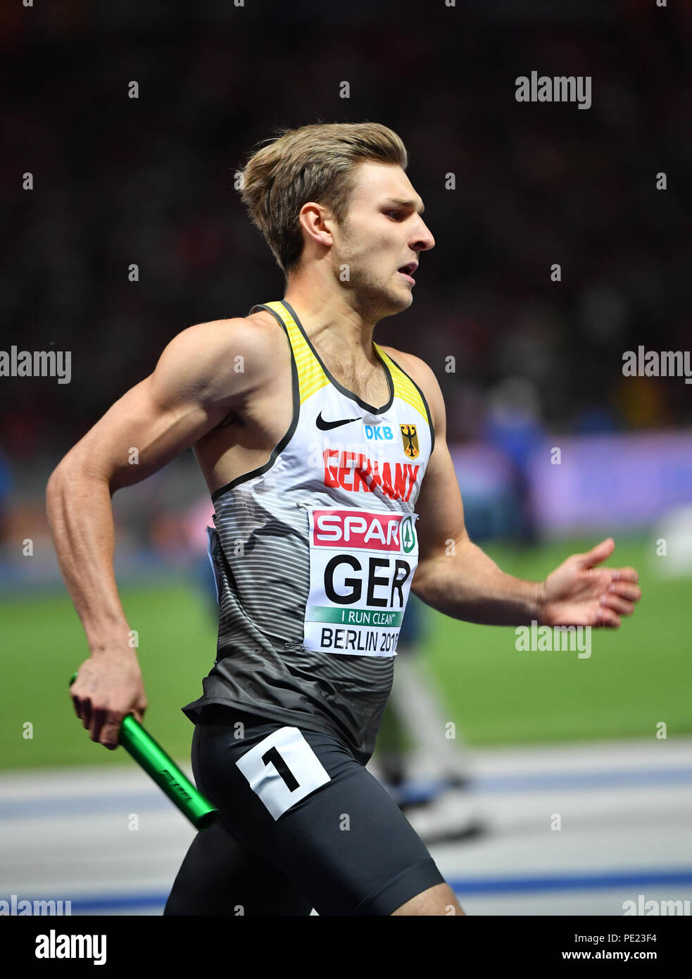Berlin, Germany. 11th Aug, 2018. European Athletics Championships in the Olympic Stadium: 4x400 m Relay, Men, Final: Fabian Dammer from Germany in action. Credit: Bernd Thissen/dpa/Alamy Live News - Stock Image