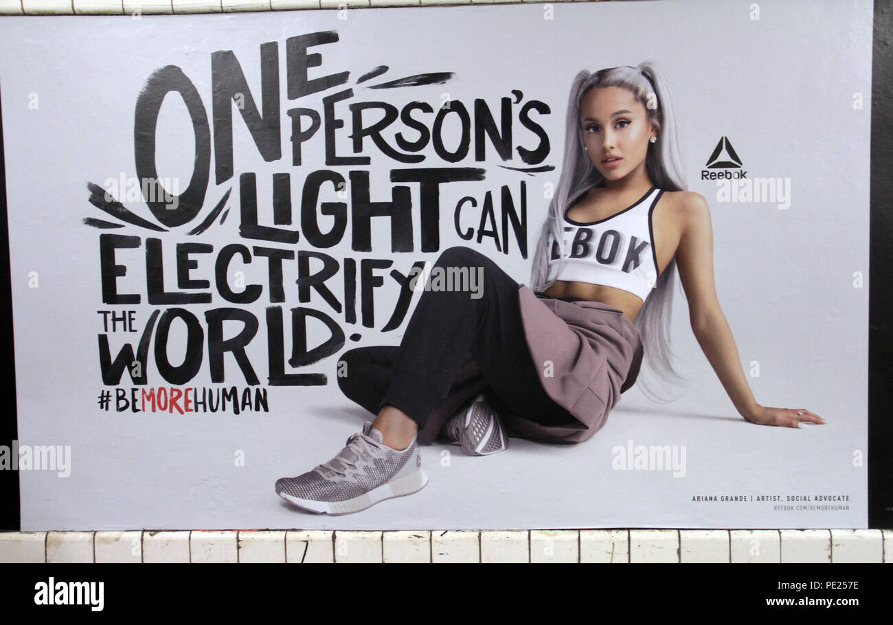 Broma río Impuro  New York, USA. 11th August 2018. ***EDITORIAL USE ONLY*** Ariana Grande in  Reebok new