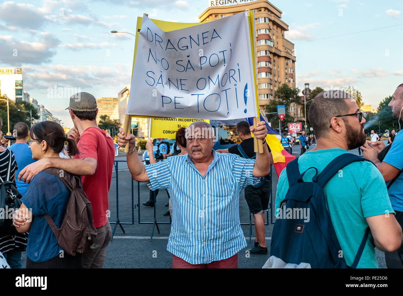 Bucharest, Romania. 11th August 2018. Protests in Bucharest / Romania on August 11 2018 against the corrupt government ruled in majority by the Social Democrat Party. Credit: Marius Eduard Canura/Alamy Live News Stock Photo