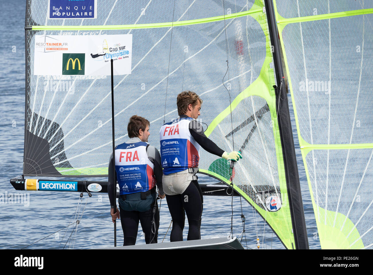 Aarhus, Denmark is hosting the 2018 Hempel Sailing World Championships from 30 July to 12 August 2018. More than 1,400 sailors from 85 nations are racing across ten Olympic sailing disciplines as well as Men's and Women's Kiteboarding. - Stock Image