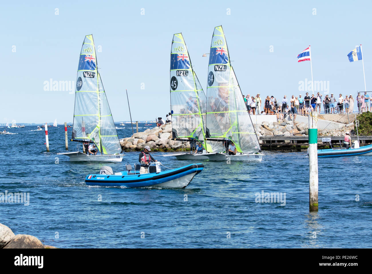 Aarhus, Denmark is hosting the 2018 Hempel Sailing World Championships from 30 July to 12 August 2018. More than 1,400 sailors from 85 nations are racing across ten Olympic sailing disciplines as well as Men's and Women's Kiteboarding.  40% of Tokyo 2020 Olympic Sailing Competition places will be awarded in Aarhus as well as 12 World Championship medals. - Stock Image