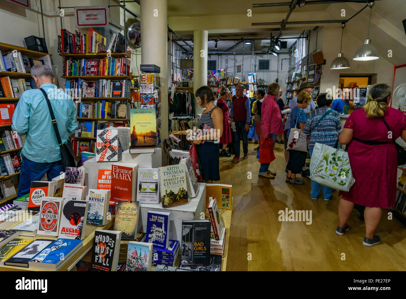 London, UK. 11th August 2018. 11th August 2018. Bookmarks socialist bookshop where several hundred people from all parts of the labour movement came to show solidarity and support a week after a group of Nazi thugs from 'Make Britain Great Again' invaded the shop in central London, shouting racist slogans and wrecking book displays. Credit: ZUMA Press, Inc./Alamy Live News - Stock Image