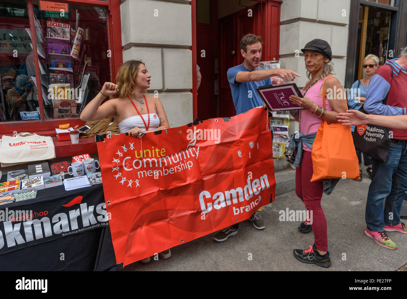 London, UK. 11th August 2018. 11th August 2018. Several hundred people from all parts of the labour movement including Unite Community had come to show solidarity and support the Bookmarks socialist bookshop a week after a group of Nazi thugs from 'Make Britain Great Again' invaded the shop in central London, shouting racist slogans and wrecking book displays. Credit: ZUMA Press, Inc./Alamy Live News - Stock Image