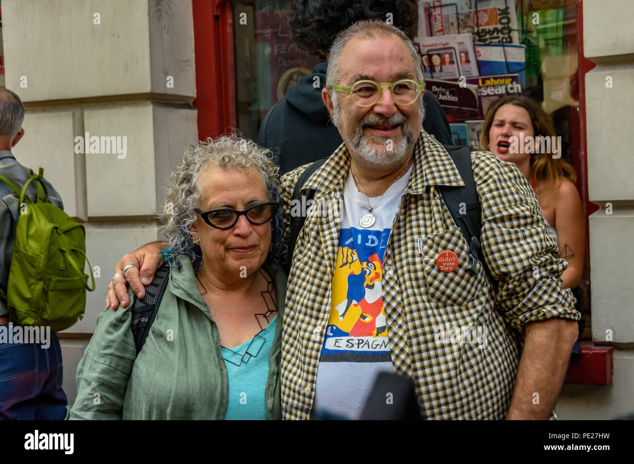 London, UK. 11th August 2018. 11th August 2018. East End Historian David Rosenberg outside Bookmarks, where several hundred people from all parts of the labour movement come to show solidarity and support the socialist bookshop a week after a group of Nazi thugs from 'Make Britain Great Again' invaded the shop in central London, shouting racist slogans and wrecking book displays. Credit: ZUMA Press, Inc./Alamy Live News - Stock Image