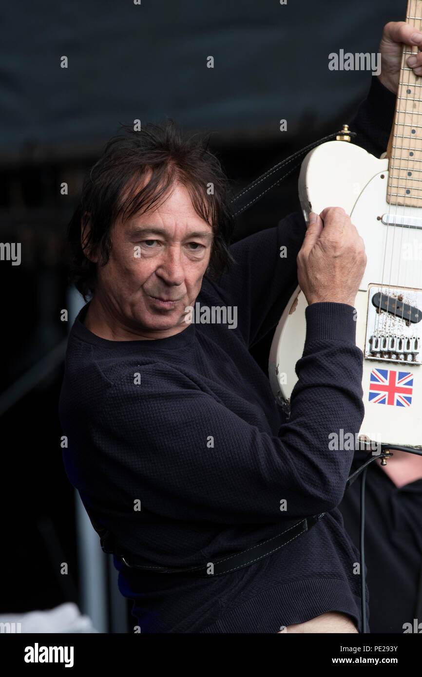 Sunderland, UK. 11th August 2018. The Buzzcocks guitarist Steve Diggle at the Kubix festival Sunderland, August 11th 2018 Credit: Peter Reed/Alamy Live News Credit: Peter Reed/Alamy Live News - Stock Image