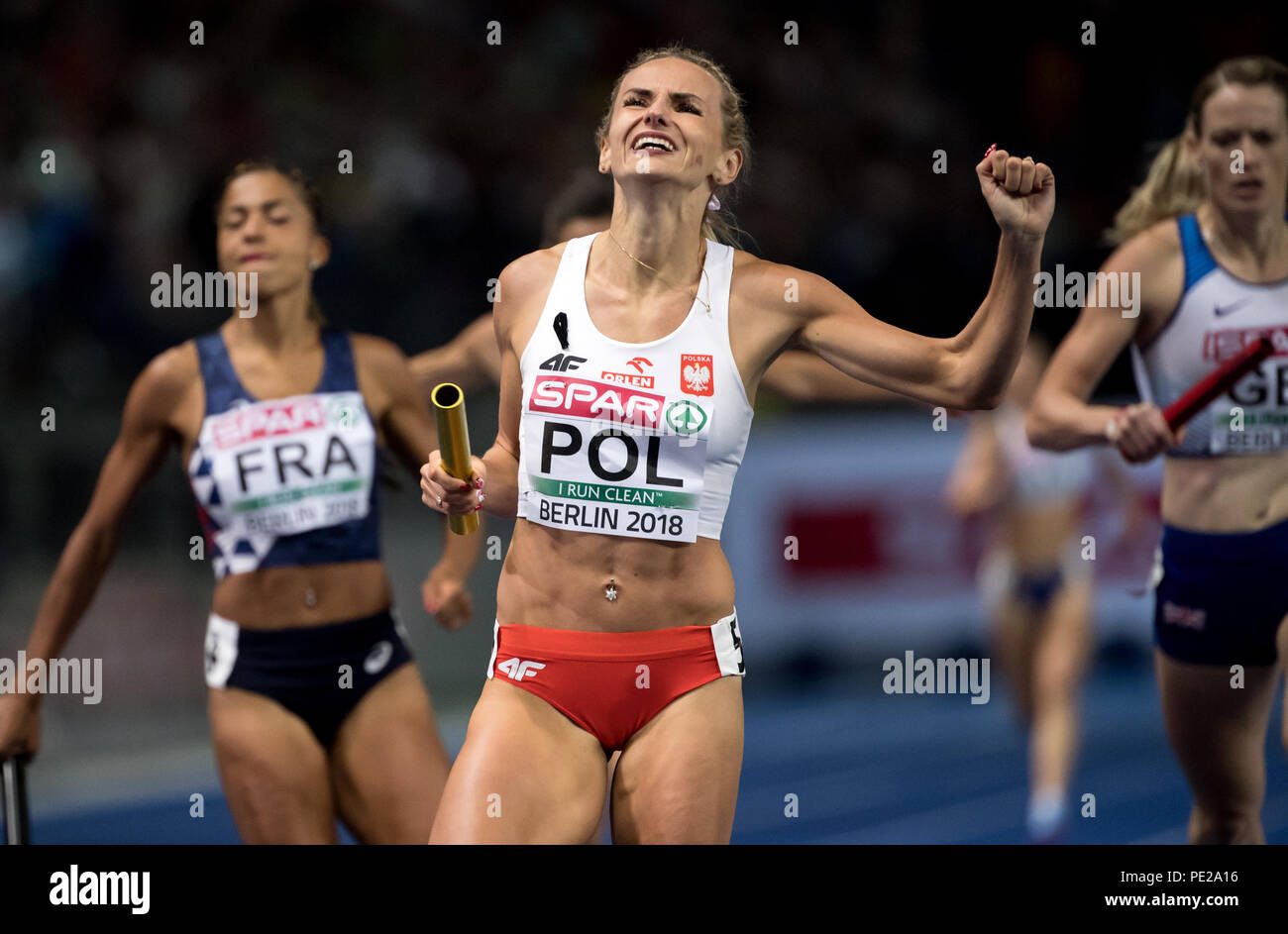 Berlin, Germany. 11th Aug, 2018. Track and Field, European Championship in the Olympic Stadium, 4x400 m Relay Final, Women: Justyna Swiety-Ersetic from Poland cheers at the finish line. Credit: Sven Hoppe/dpa/Alamy Live News - Stock Image