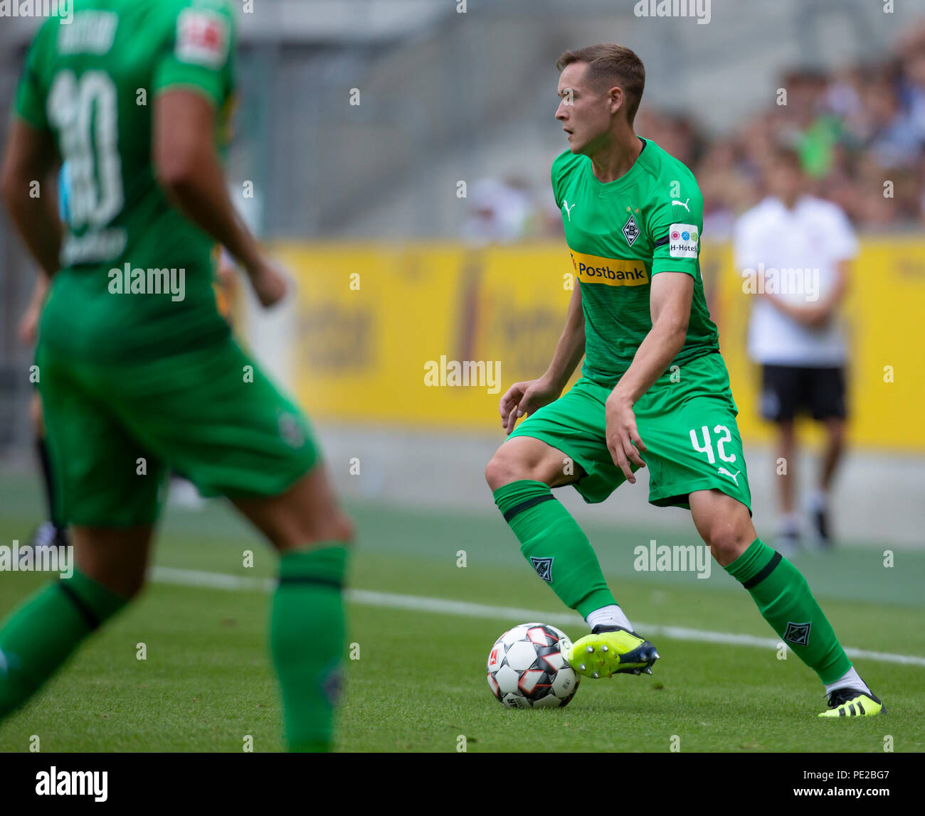 Moenchengladbach, Germany August 12 2018, friendly match, Borussia Moenchengladbach vs FC Wegberg-Beeck: Florian Mayer (BMG)  in action.               Credit: Juergen Schwarz/Alamy Live News - Stock Image