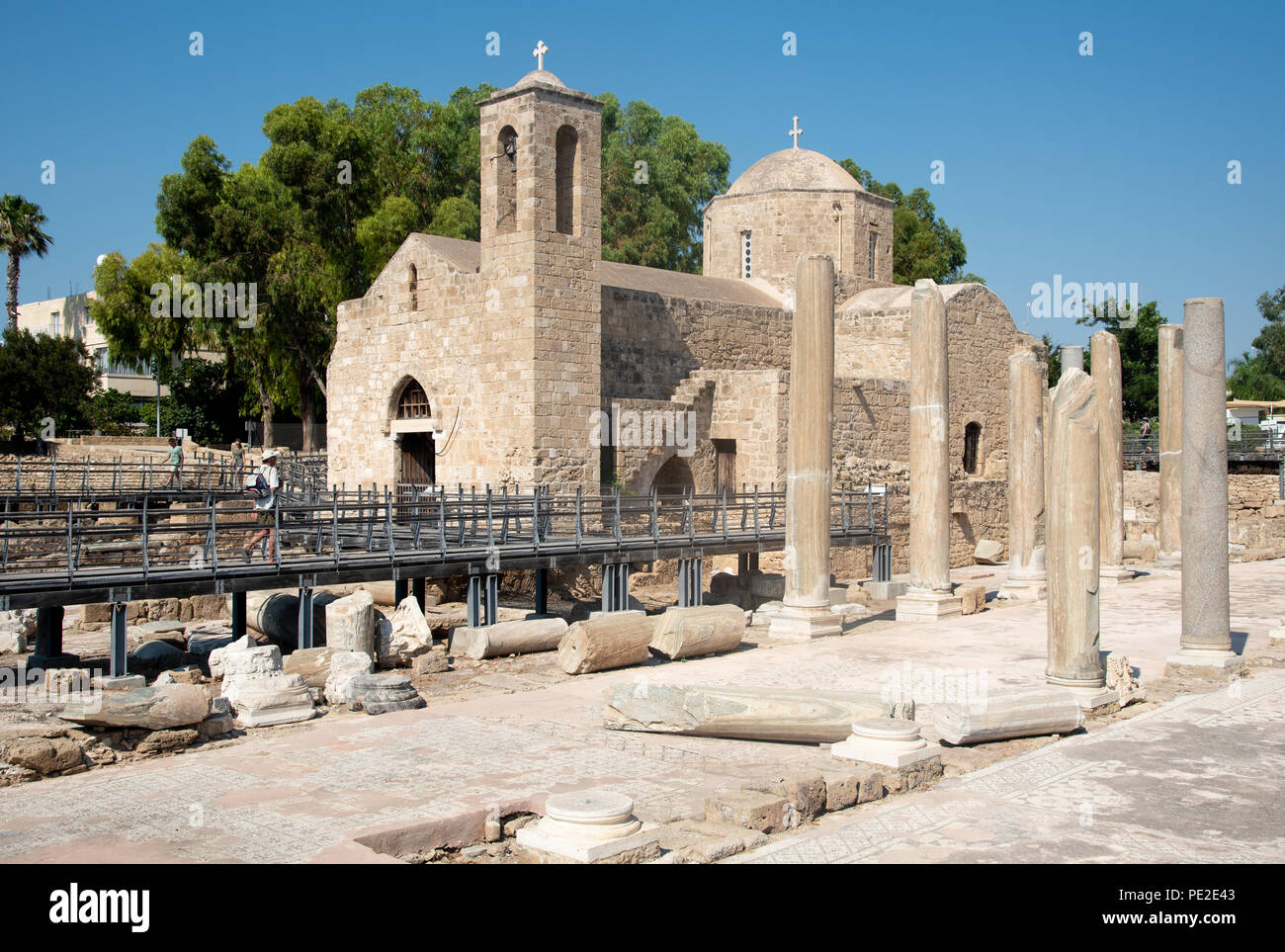 Holy Ancient orthodox Christian church of Ayia Kyriaki Chrysopolitissa at Paphos town in Cyprus. - Stock Image