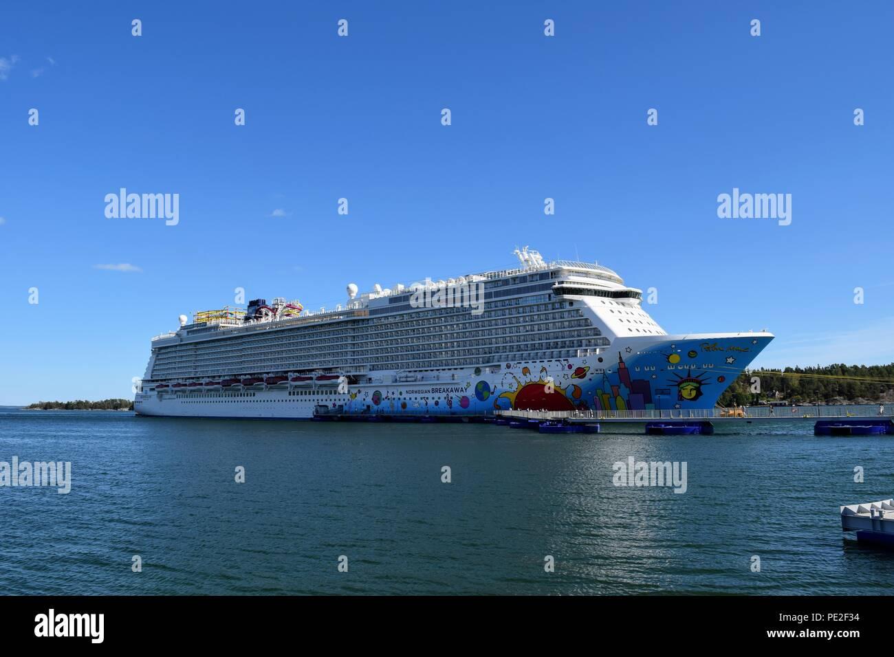 Norwegian Breakaway docked in Nynäshamn, Sweden - Stock Image