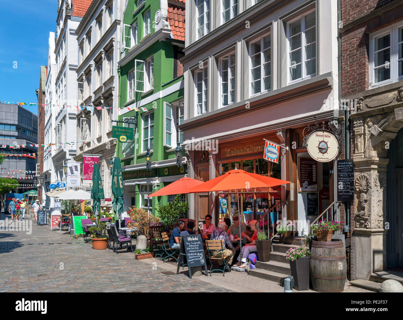 Cafes and bars on historic Deichstrasse (Deichstraße) in the Altstadt (Old Town), Hamburg, Germany - Stock Image