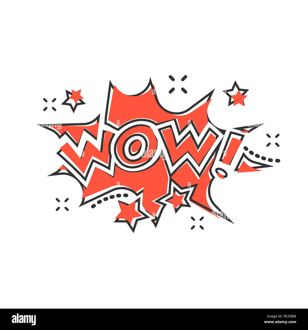 Vector cartoon wow comic sound effects icon in comic style