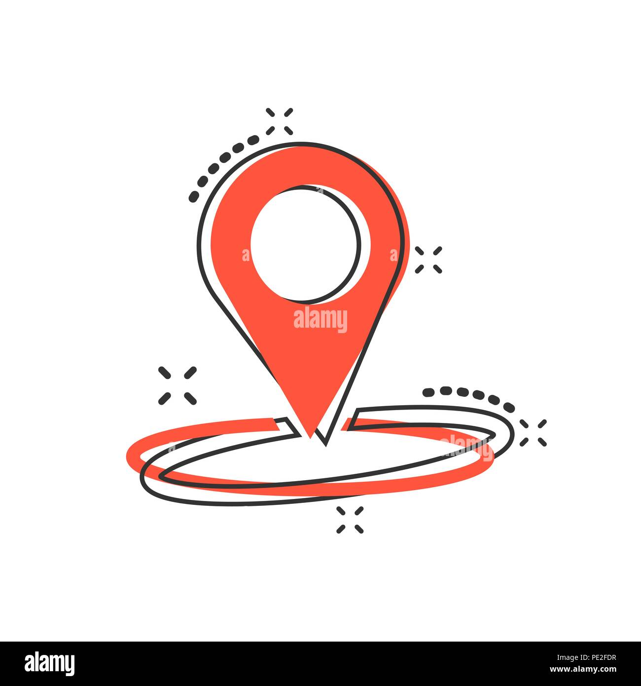 Vector cartoon pin location icon in comic style. Navigation map, gps sign illustration pictogram. Pin business splash effect concept. - Stock Vector