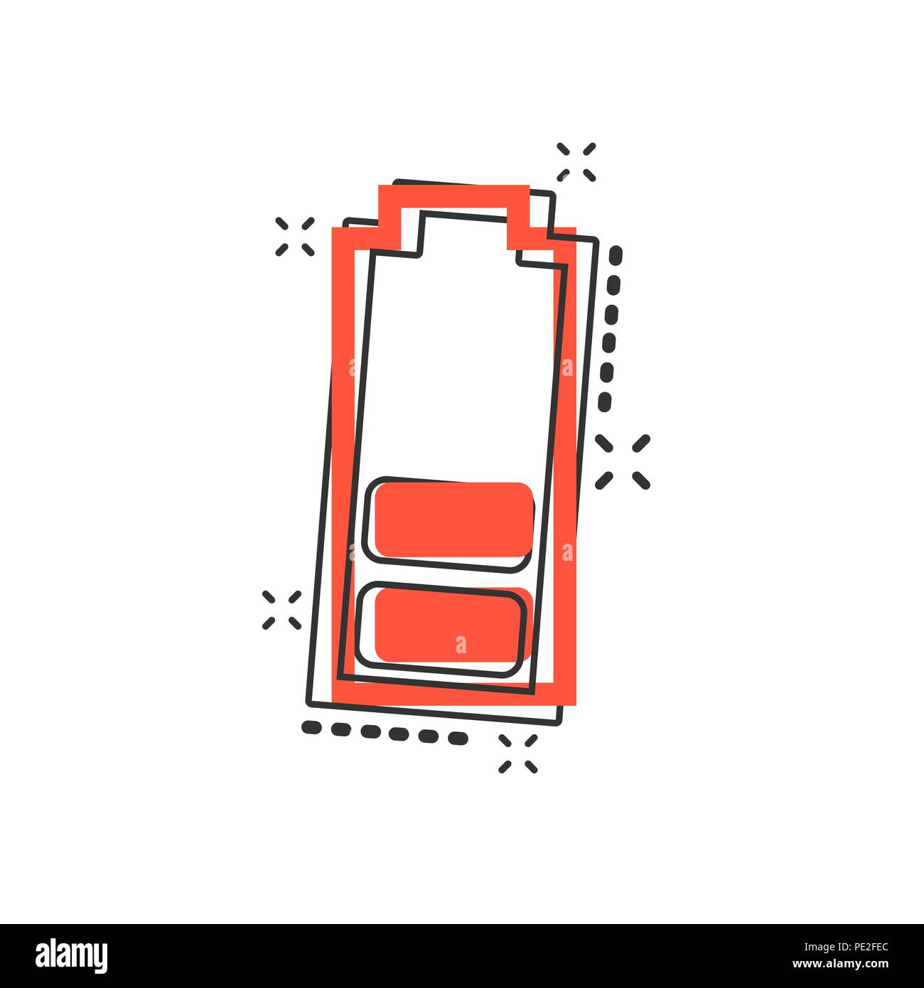 Vector Cartoon Battery Charge Level Indicator Sign Icon In Comic Style Illustration Pictogram Accumulator Business Splash Effect Concep
