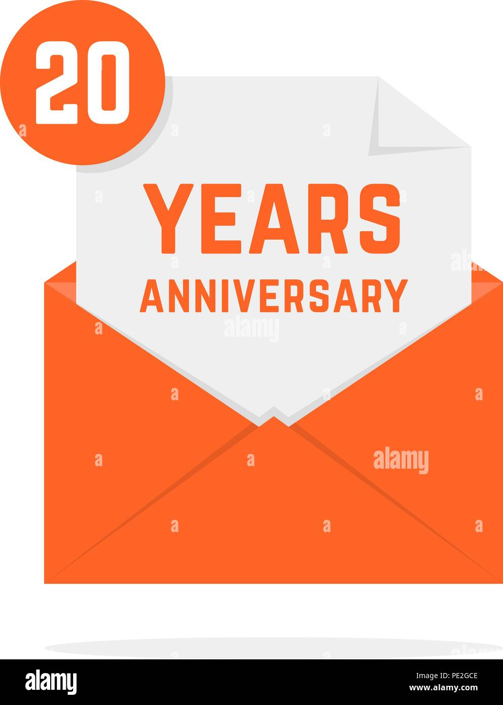 20 years anniversary icon in orange letter - Stock Vector