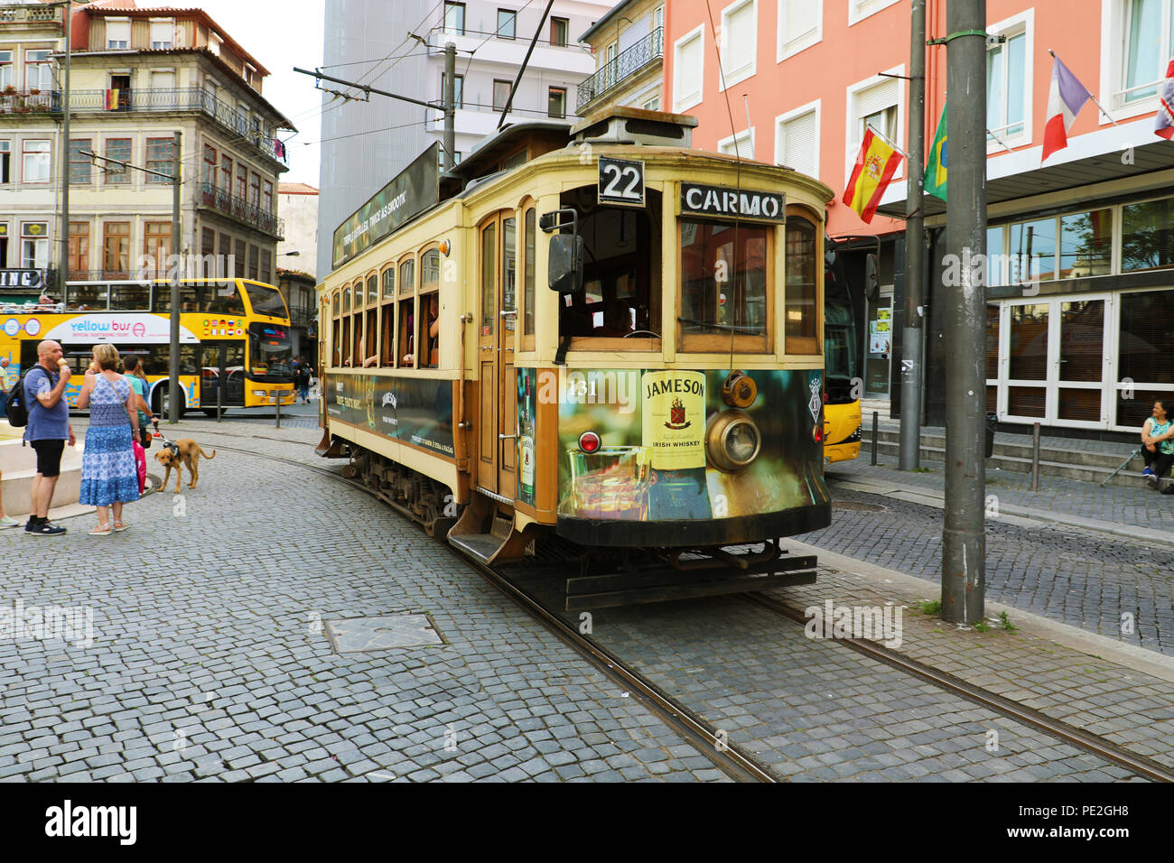 PORTO, PORTUGAL - JUNE 20, 2018: old tram Carmo 22 in downtown of Porto, Portugal Stock Photo