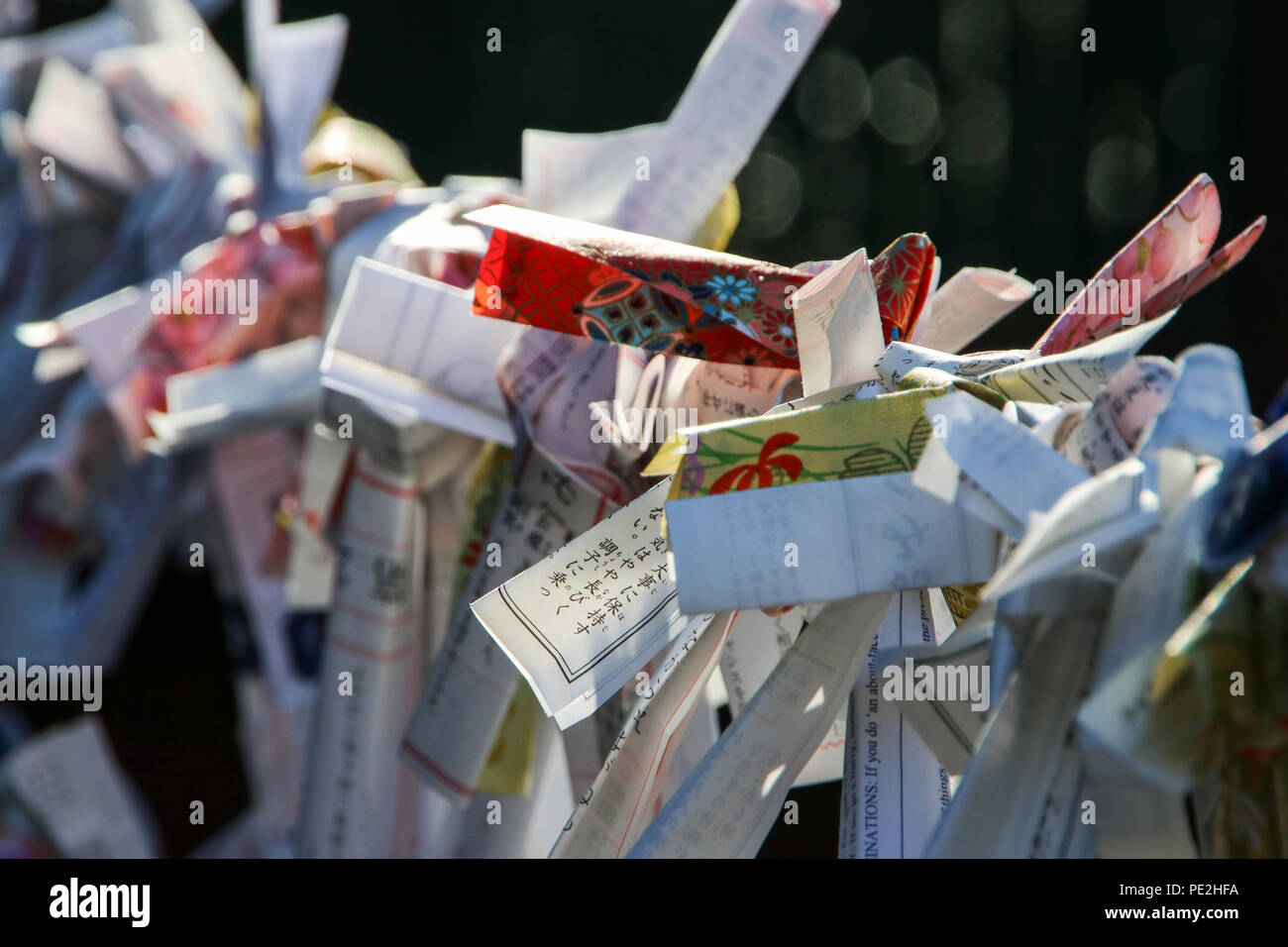 Omikuji (fortune-telling paper strip) tied to a rope at a Japanese temple in Nikko, Japan. - Stock Image