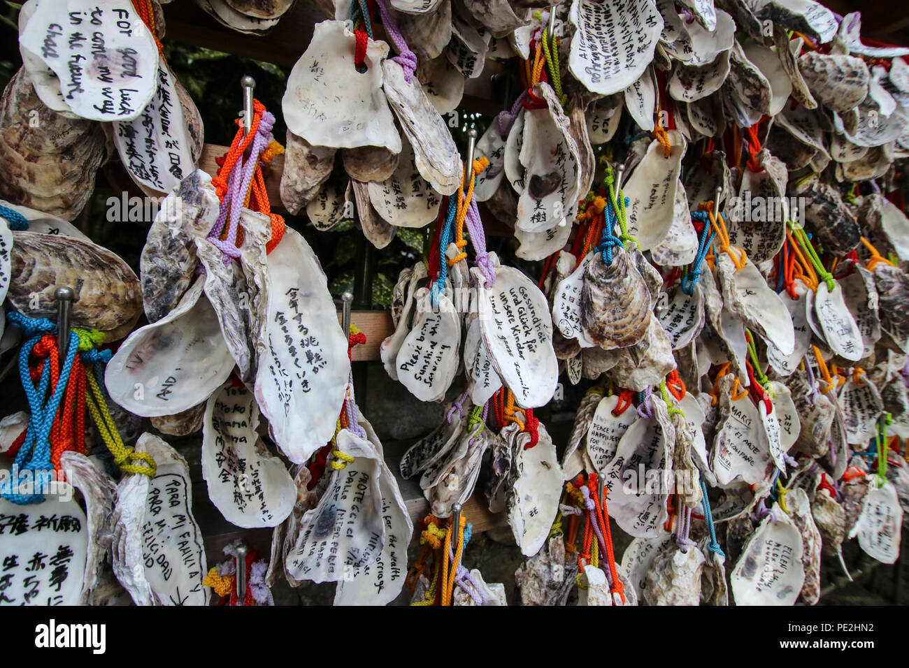 Writen wishes on oyster shells (Ema) at Kakigara Inari (かきがら稲荷) a Shinto Shrine at the Hase-dera temple in Kamakura, Kanagawa Prefecture, Japan. - Stock Image
