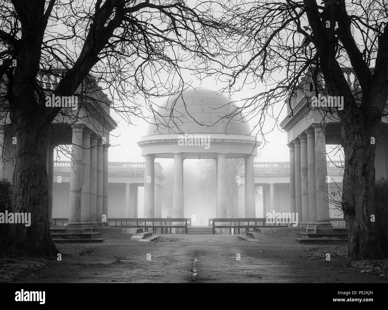 The bandstand at Eaton Park on a misty morning. - Stock Image