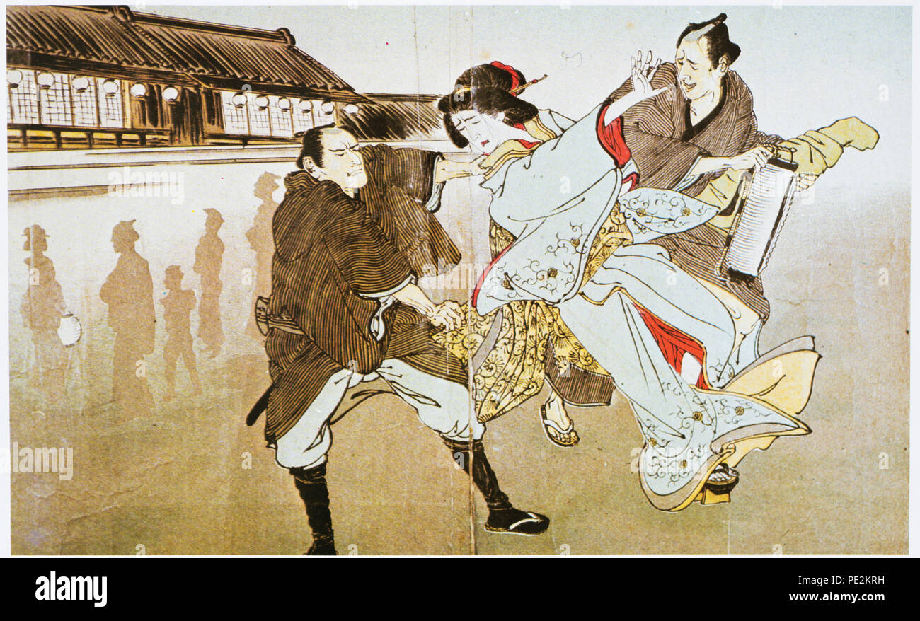 Tokugawa bakuhu keijizufu, published in Meiji 26 (1893), Private Collection. It showing crime and punishment during Edo Period. A geisha stole wallet from drunken man. Officer caught her in moment. - Stock Image