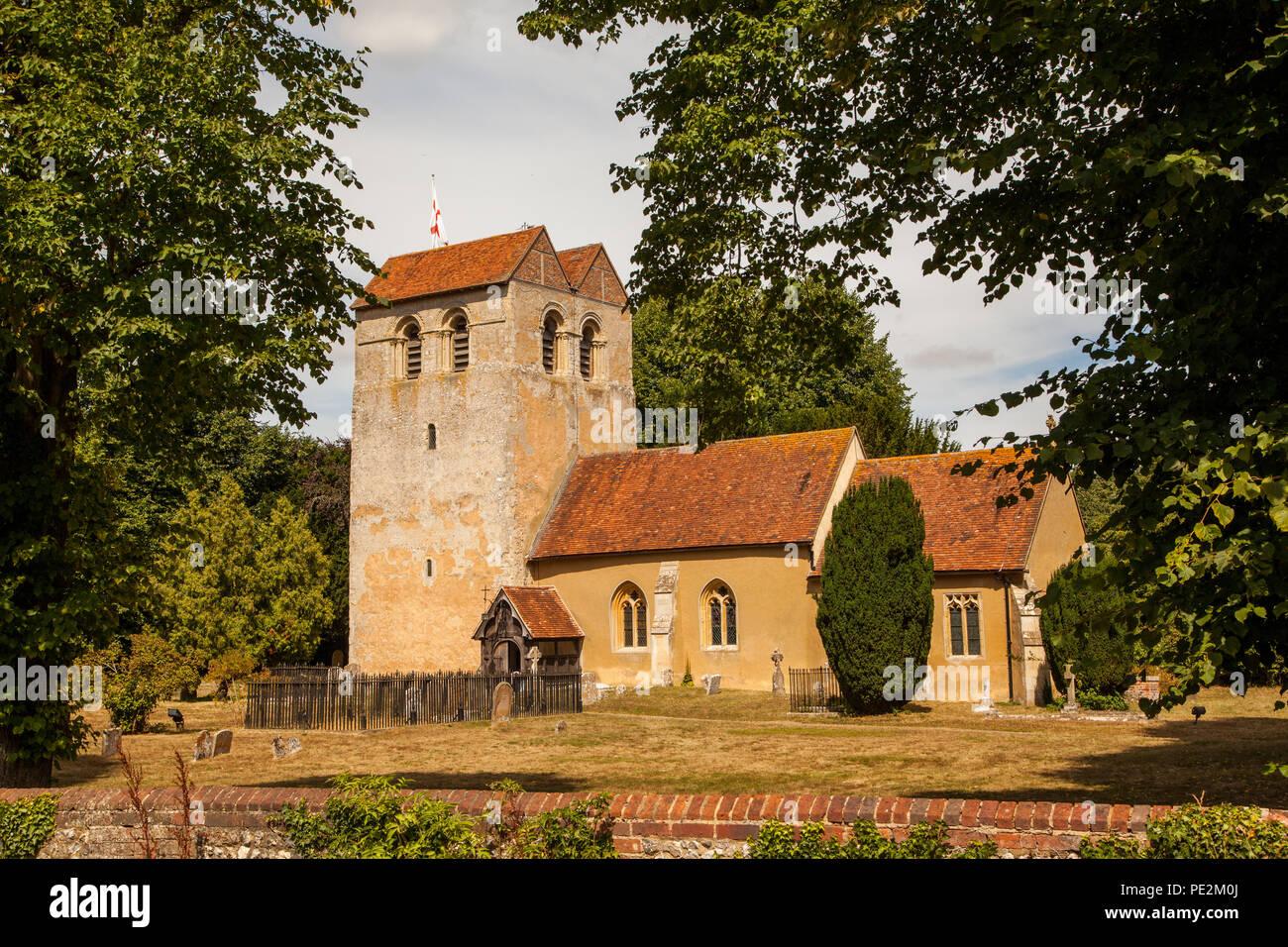 St Bartholomew Church in the chilterns village of Fingest Buckinghamshire England UK setting for many Midsomer Murders - Stock Image