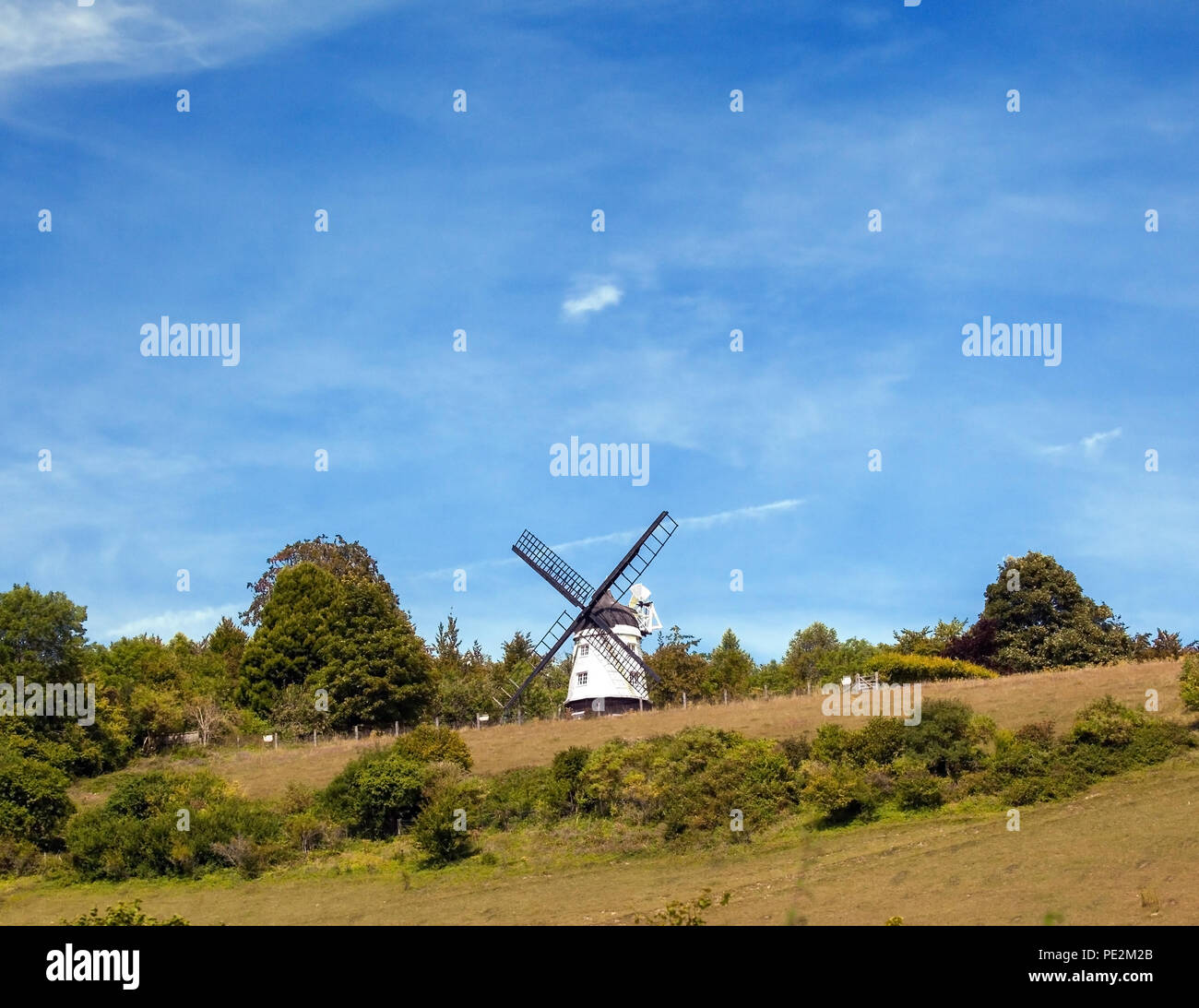 Cobstone Windmill Ibstone Buckinghamshire  location  for the film Chitty Chitty Bang Bang above the village of Turville in the Chilterns England - Stock Image