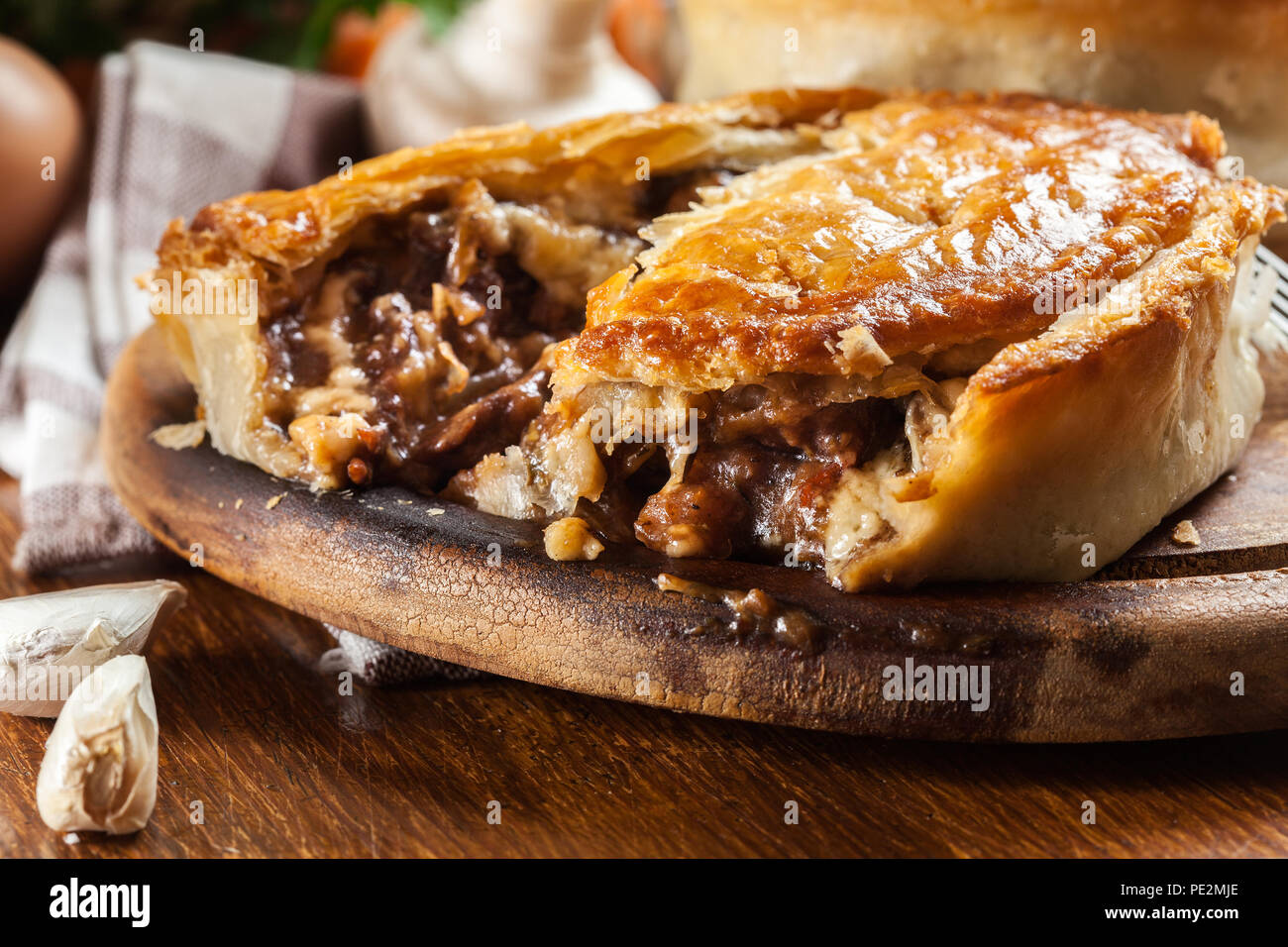 Fresh Beef Stew Pie On A Cutting Board Meat In Puff Pastry Stock Photo Alamy