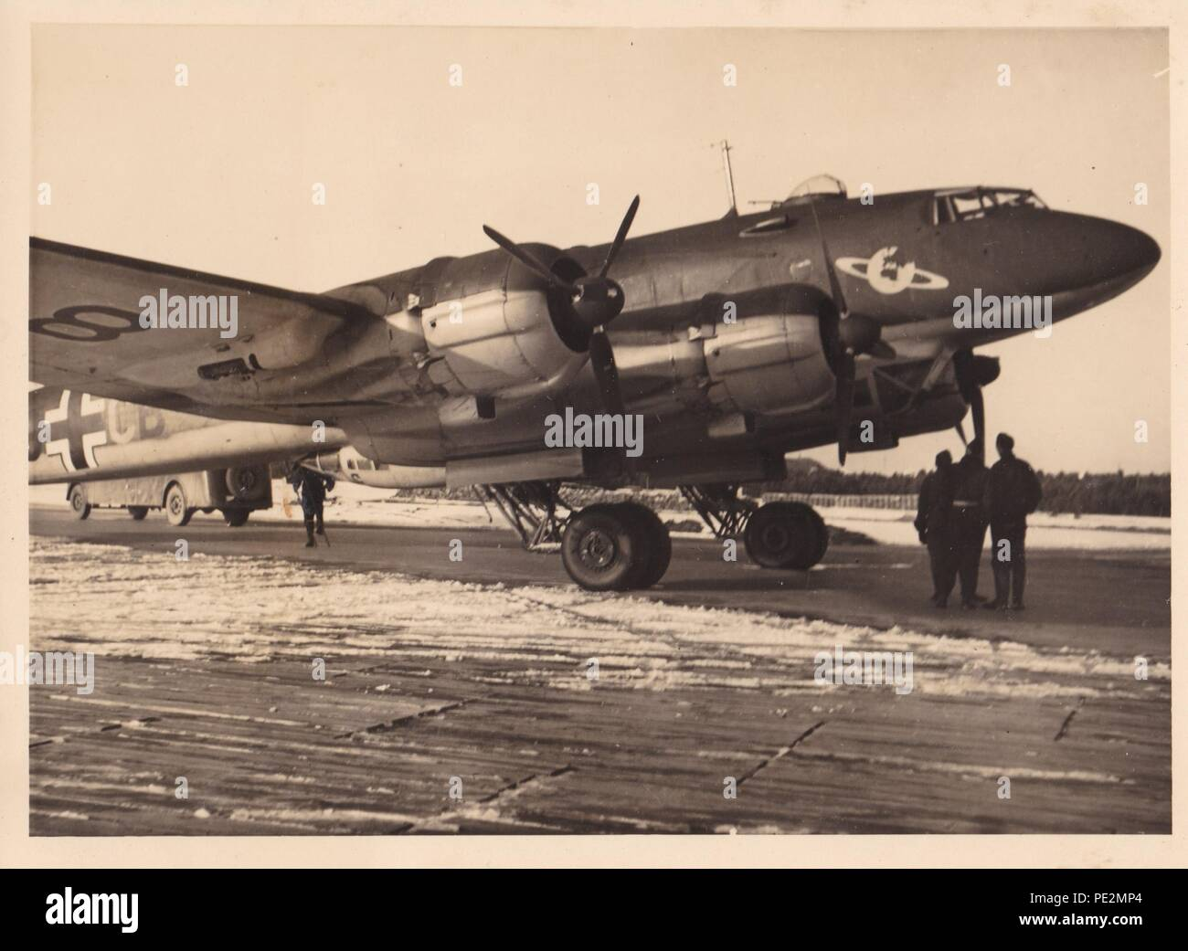 Image from the photo album of Oberfeldwebel Karl Gendner of 1. Staffel, Kampfgeschwader 40: Focke Wulf FW 200 Condor F8+CB of the Staff Flight, I.Gruppe KG 40 prior to take-off on a mission from Stavanger to Bordeaux on 1st April 1941. - Stock Image