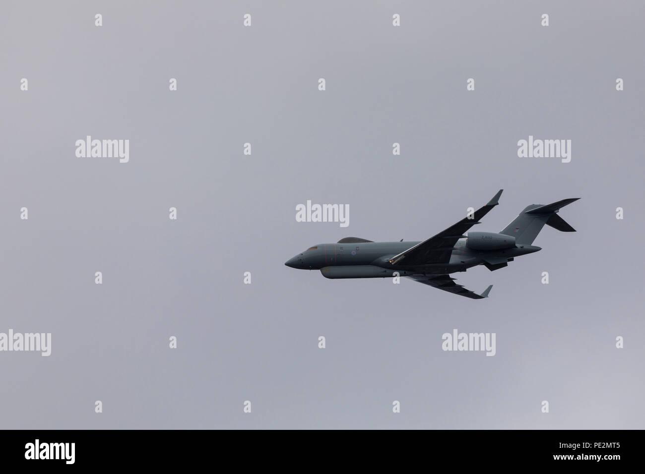 An RAF Raytheon Sentinel flying overhead of London to mark the RAF100 Anniversary - Stock Image