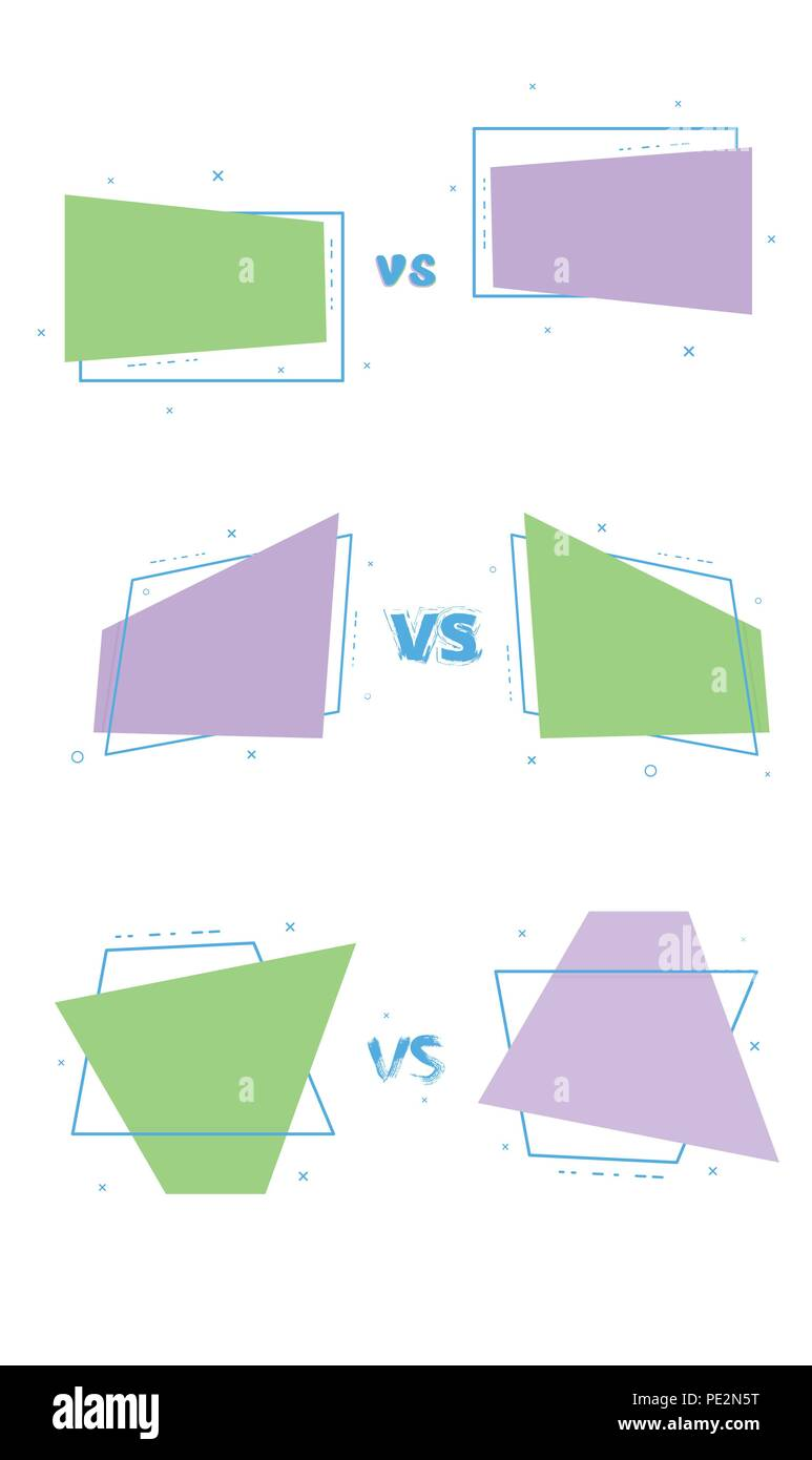 set of vs cards versus screen template vector illustration stock