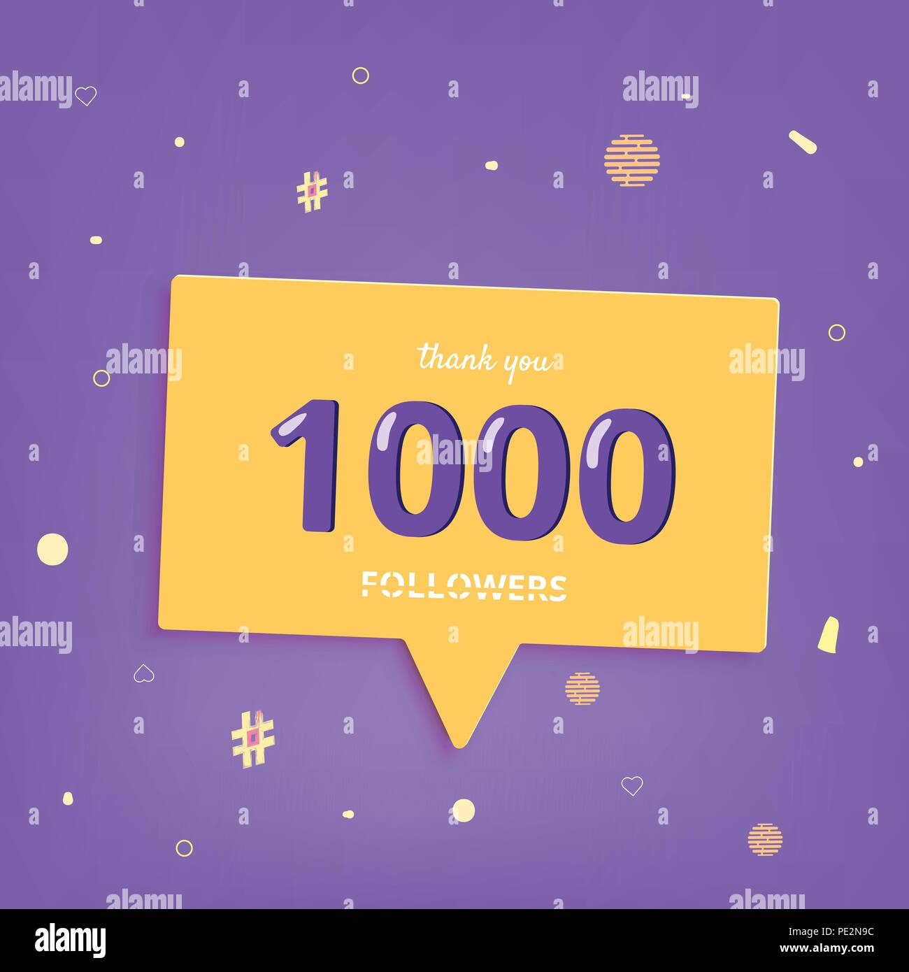 1k followers thank you post with decoration 1000 subscribers square