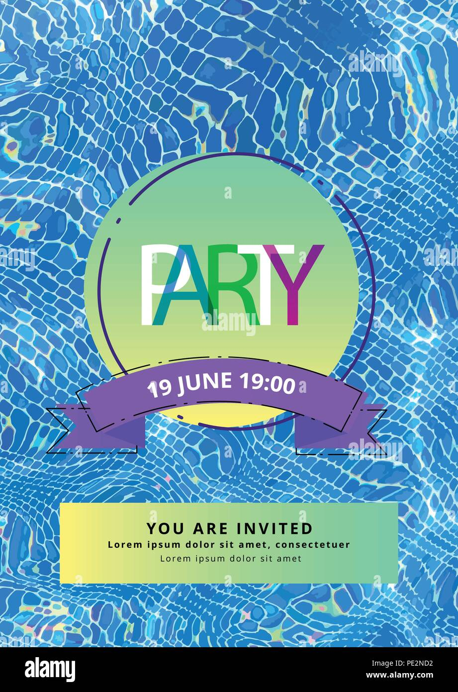 party vertical flyer with vivid badge and water background template