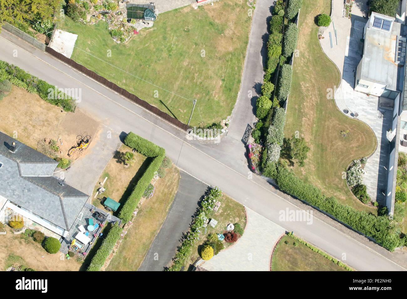 Aerial view of neighbourhood.  Cornwall, UK. - Stock Image