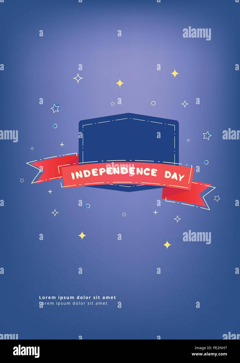 independence day vertical banner with empty space for text on badge