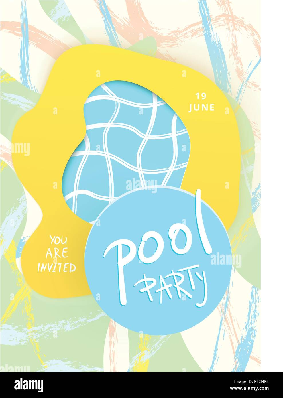pool party flyer with abstract background paper cut effect banner