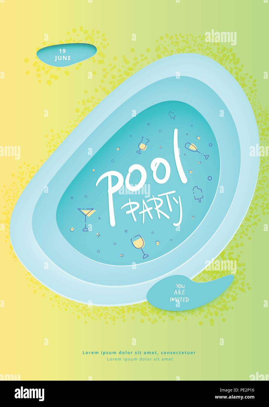 pool party vertical flyer summer celebration banner with papercut