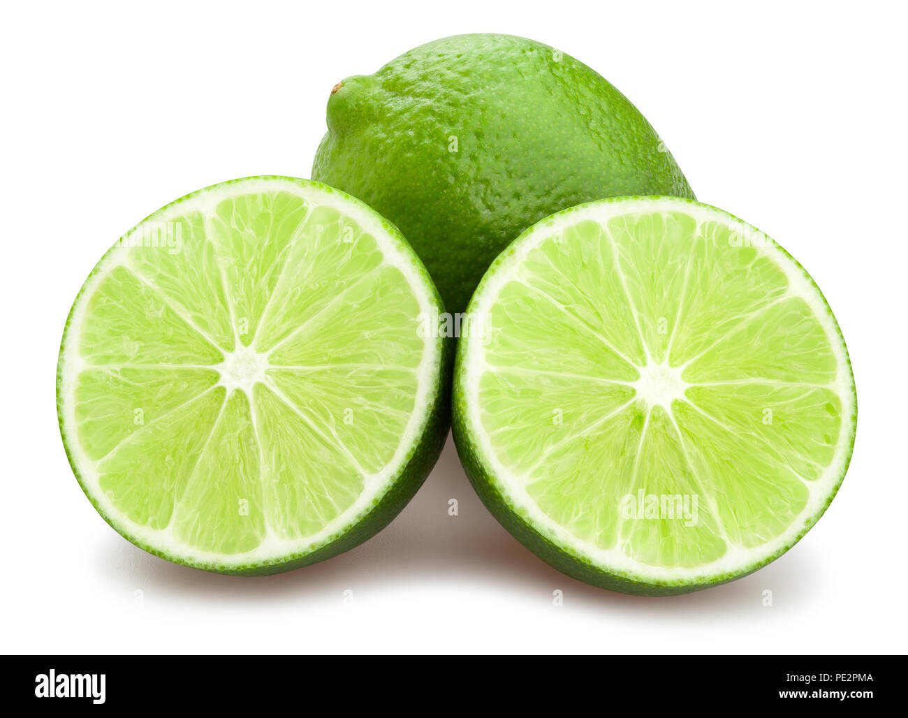 sliced lime path isolated - Stock Image
