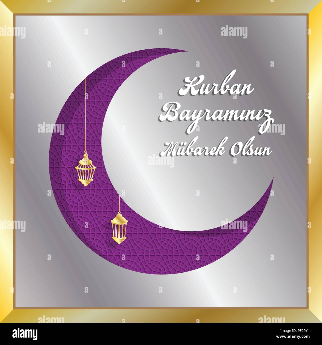 Turkish eid mubarak greeting with crescent moon for muslim holiday turkish eid mubarak greeting with crescent moon for muslim holiday all the objects are in different layers and the text types do not need any font m4hsunfo