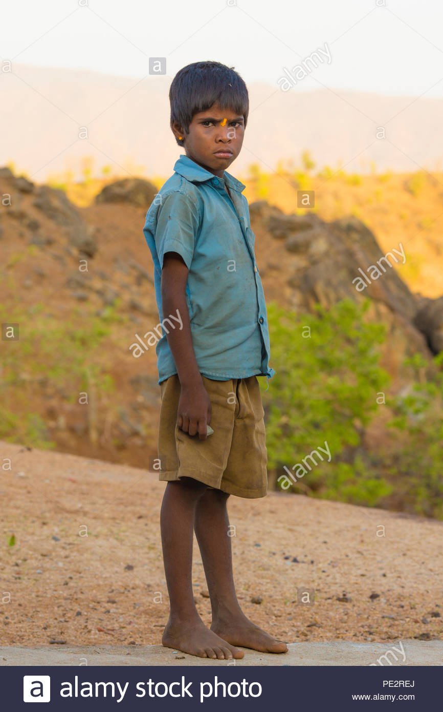 RAMESHWAR, RAJASTHAN, INDIA - MAY 27, 2016 ; An unidentified Indian boy in school uniform and happy to poses for camera, Rameshwar, Rajasthan-India on - Stock Image