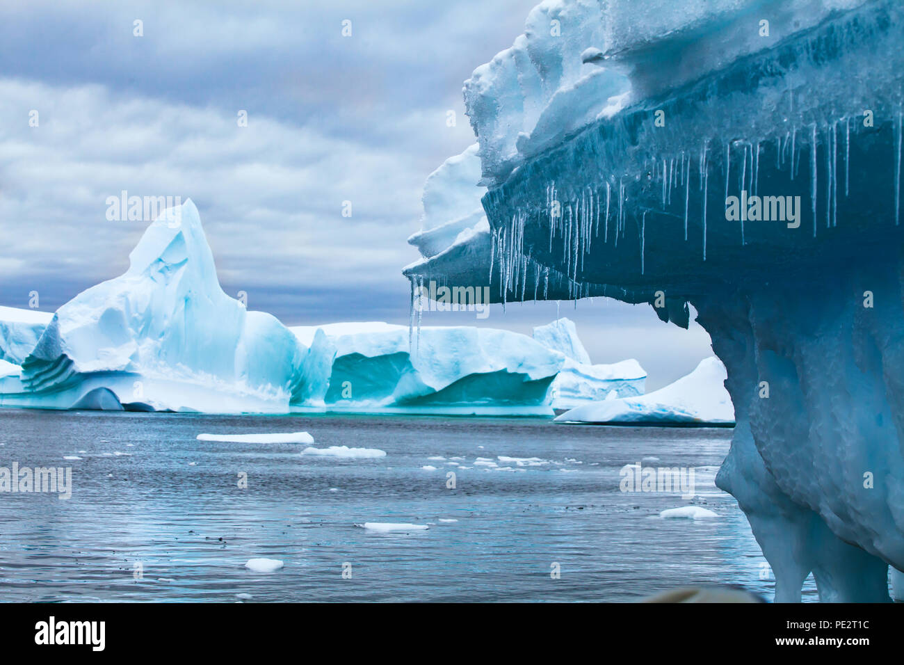 global warming and climate change concept, iceberg melting in Antarctica - Stock Image