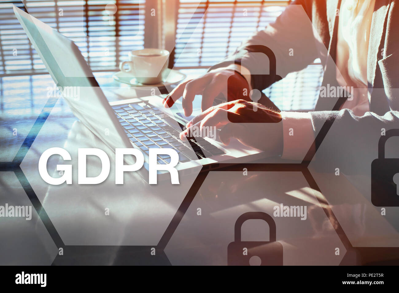GDPR concept, general data protection regulation, information security concept - Stock Image