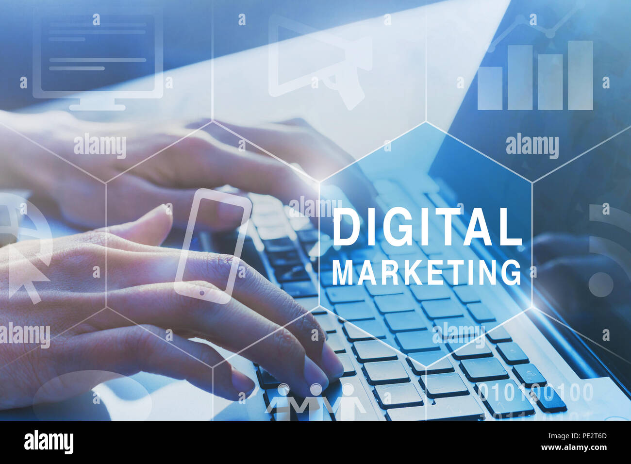 digital marketing concept diagram with icons - Stock Image